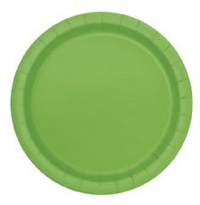 "16 Lime Green Paper Party Plates 9""/23cm"